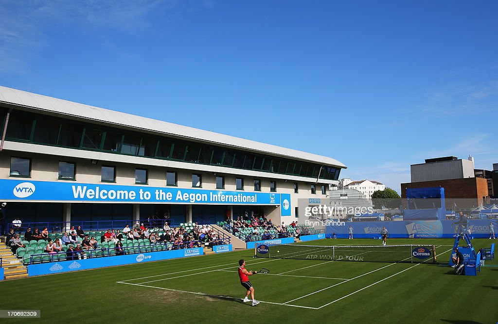A general view of court 1 during the men's singles qualifying match between Michael Russell of USA and Ryan Harrison of USA during day two of the AEGON International tennis tournament at Devonshire Park on June 16, 2013 in Eastbourne, England.
