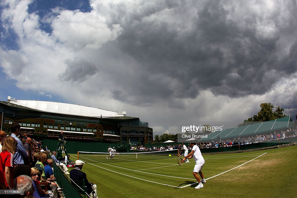 A general view of Court 10 during the doubles first round match between Scott Lipsky and Rajeev Ram of the United States and Johan Brunstrom of...