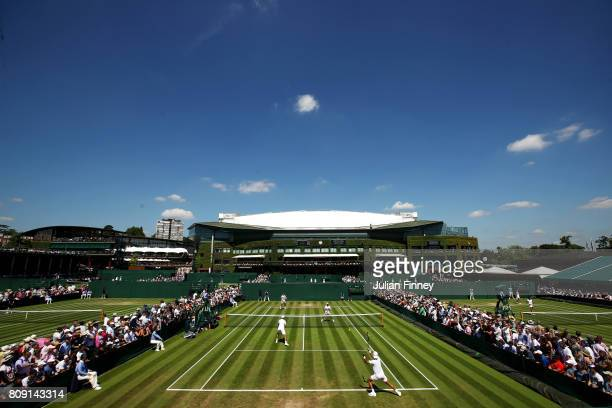 A general view of court 10 during the Gentlemen's Doubles first round match between JeanJulien Rojer of of the Netherlands and Horia Tecau against...