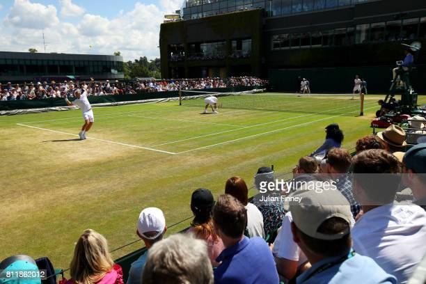A general view of court 16 during the Gentlemen's Doubles third round match between Henri Kontinen of Finland and John Peers of Australia and Hugo...
