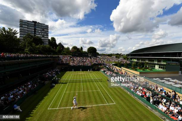 A general view of court 18 during the Gentlemen's Singles first round match between Kevin Anderson of South Africa and Fernando Verdasco of Spain on...