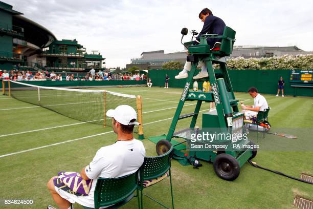 A general view of Court 19 at Wimbledon during the match between Stefano Galvani and JamieBaker