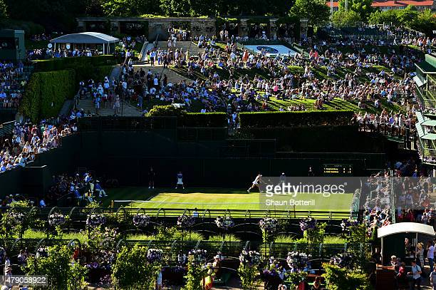 General view of Court 19 during day two of the Wimbledon Lawn Tennis Championships at the All England Lawn Tennis and Croquet Club on June 30 2015 in...