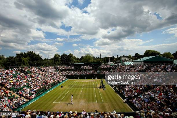 A general view of Court 2 as Feliciano Lopez of Spain plays against Stan Wawrinka of Switzerland during a Gentlemen's Singles fourth round match on...