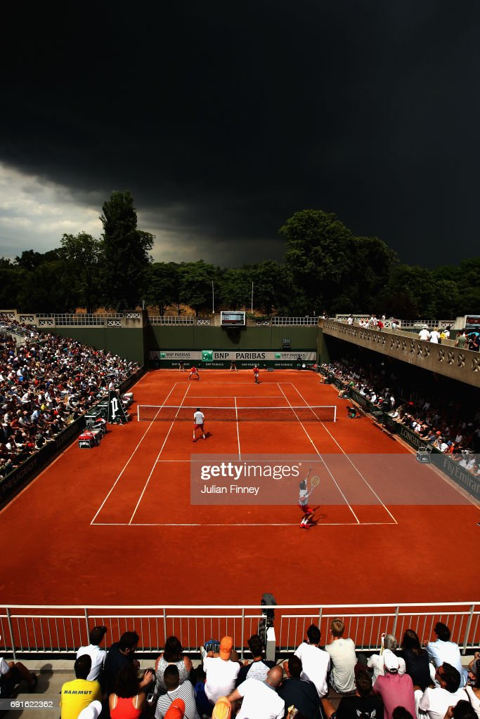 A general view of Court 2 during the mens doubles second round match between Sam Groth of Australia and Robert Lindstedt of Sweden and Bob Bryan and Mike Bryan of The United States on day six of the 2017 French Open at Roland Garros on June 2, 2017 in Paris, France.
