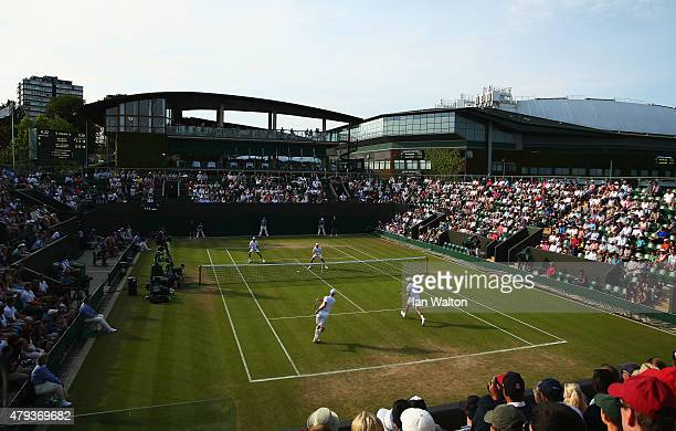 A general view of Court 3 during the Gentlemen's Second Doubles Round match between Bob Bryan of the United States and Mike Bryan of the United...