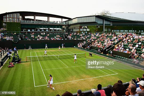 A general view of Court 3 during the Ladies Doubles First Round match between Martina Hingis of Switzerland and of China during day three of the...