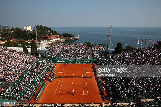 A general view of court central showing Novak Djokovic of Serbia against Juan Monaco of Argentina in their third round match during day five of the...