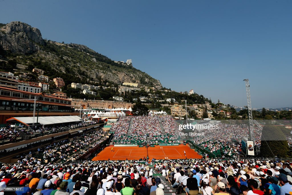 A general view of court central showing Novak Djokovic of Serbia against Juan Monaco of Argentina in their third round match during day five of the ATP Monte Carlo Masters,at Monte-Carlo Sporting Club on April 18, 2013 in Monte-Carlo, Monaco.