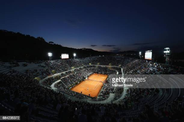 General view of Court Centrale during the men's second round match between Stan Wawrinka of Switzerland and Benoit Paire of France on Day Four of The...