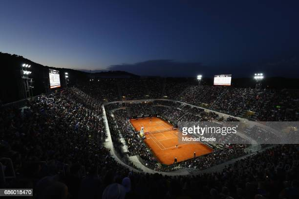 General view of Court Centrale during the men's semifinal between Dominic Thiem of Austria and Novak Djokovic of Serbia on Day Seven of the...