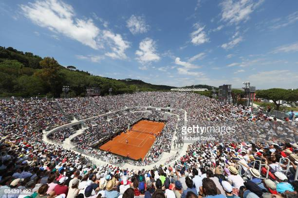 General view of Court Centrale during the men's third round match between Fabio Fognini of Italy and Alexander Zverev of Germany on Day Five of the...