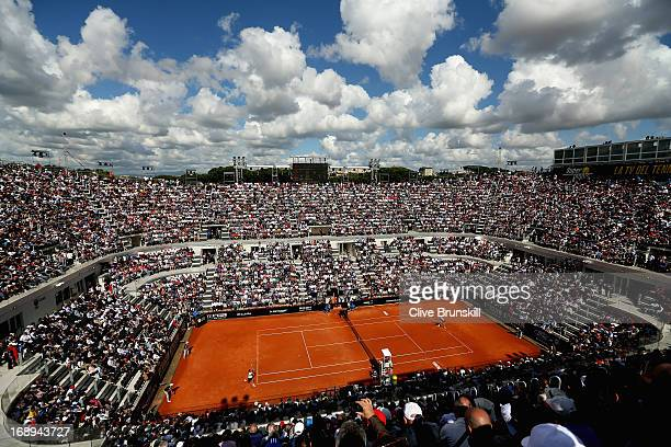 A general view of court centrale showing Novak Djokovic of Serbia against Tomas Berdych of the Czech Republic in their quarter final round match...