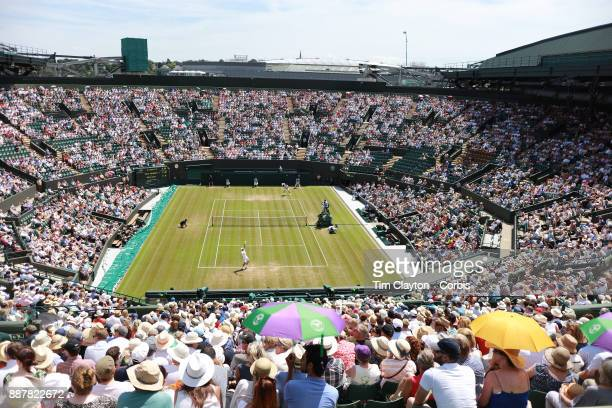 A general view of court number one showing Steve Johnson of the United States in action against Marin Cilic of Croatia in the Gentlemen's Singles...