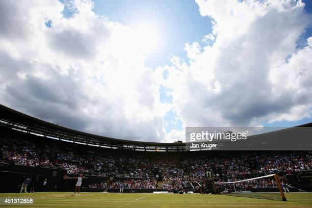 A general view of court one as Barbora Zahlavova Strycova of Czech Republic serves during her Ladies' Singles third round match against Na Li of...