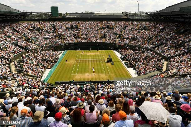 A general view of court one as Johanna Konta of Great Britain serves during the Ladies Singles fourth round match against Caroline Garcia of France...