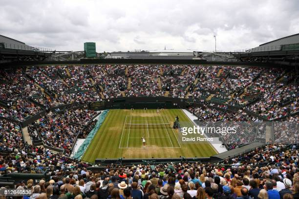 A general view of court one during the Ladies Singles quarter final match between Garbine Muguruza of Spain and Svetlana Kuznetsova of Russia on day...