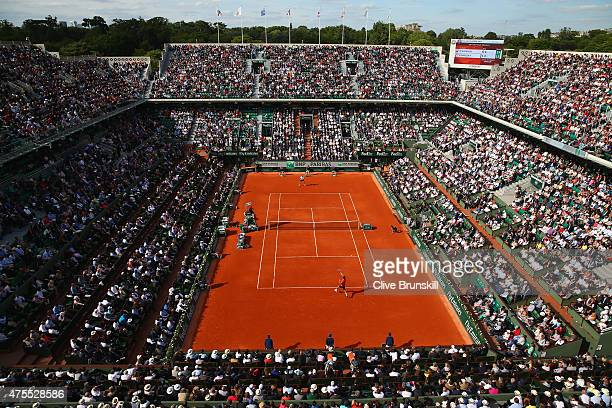 A general view of Court Philippe Chartrier as Novak Djokovic of Serbia and Richard Gasquet of France compete in their Men's Singles match day eight...