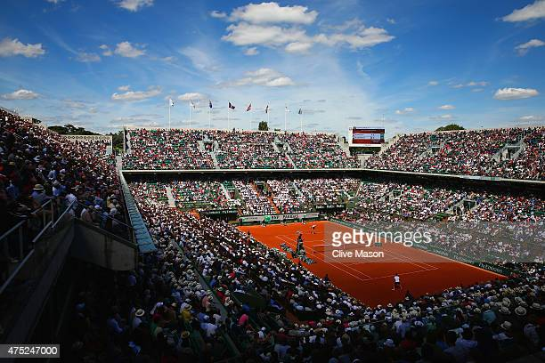 A general view of court Philippe Chatrier as Richard Gasquet of France and Kevin Anderson of South Africa compete in their Men's Singles match on day...