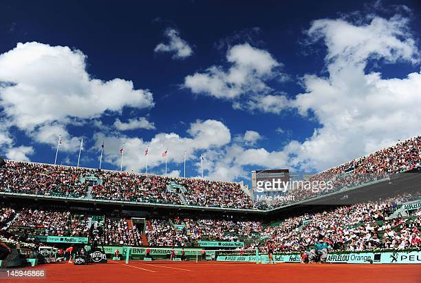 A general view of Court Philippe Chatrier during day 12 of the French Open at Roland Garros on June 7 2012 in Paris France