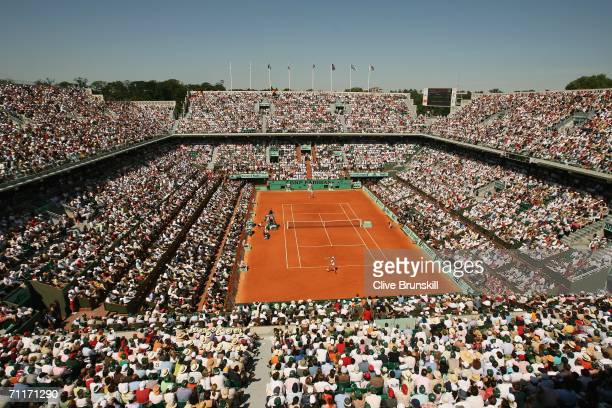 A general view of Court Philippe Chatrier taken during the Women's Final between Svetlana Kuznetsova of Russia and Justine HeninHardenne of Belgium...
