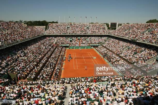 A general view of Court Philippe Chatrier taken during the Women's Final between Svetlana Kuznetsova of Russia and Justine HeninHardenne of Belgium...