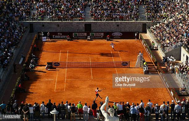 A general view of court Pietrangeli whilst Gael Monfils of France plays Juan Carlos Ferrero of Spain during day four of the Internazionali BNL...