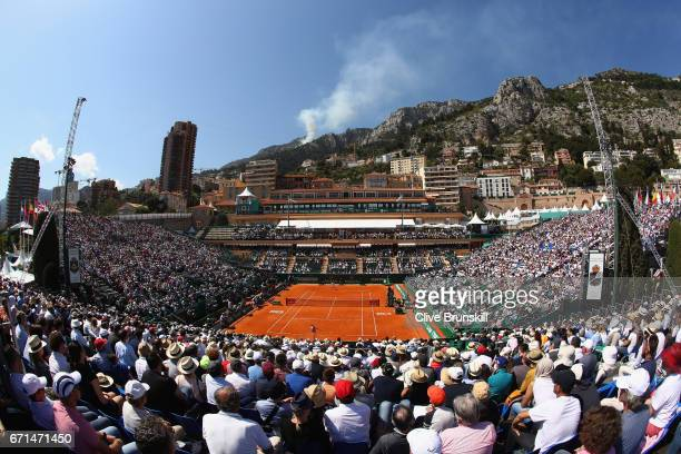 A general view of Court Rainier lll as Albert RamosVinolas of Spain plays against Lucas Pouille of France in their semi final round match on day...