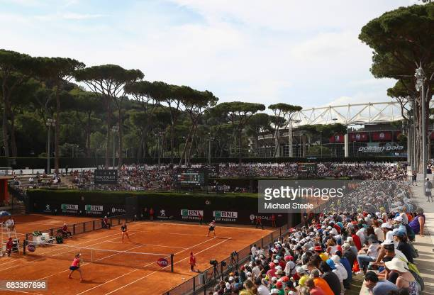 General view of court six during the women's doubles match between Johanna Konta of Great Britain and Laura Siegemund of Germany and HaoChing Chan of...