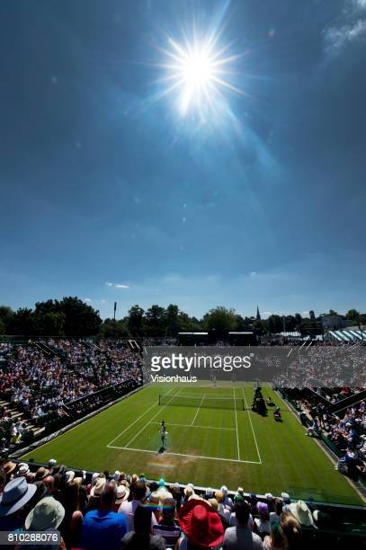 A general view of court two during Heather Watson of Great Britain's match against Anastasija Sevastova of Latvia on day three of the Wimbledon Lawn...