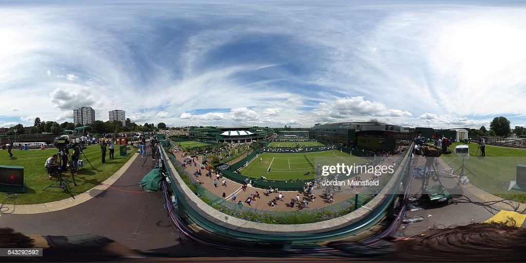 A general view of courts during day one of the Wimbledon Lawn Tennis Championships at the All England Lawn Tennis and Croquet Club on June 27, 2016 in London, England.