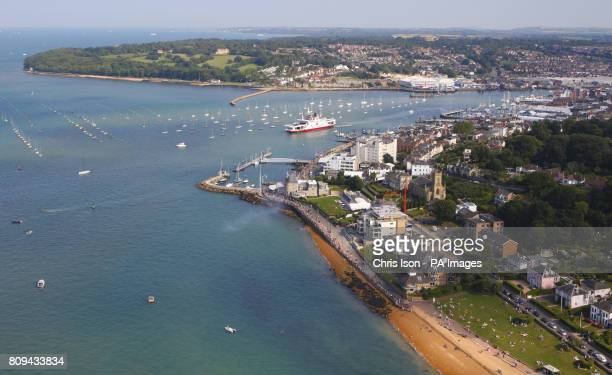 A general view of Cowes waterfront on the Isle of Wight including the Royal Yacht Squadron
