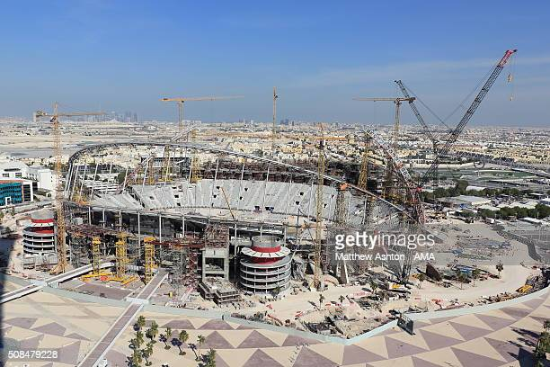 A general view of cranes and building works during the construction and refurbishment of the Khalifa International Stadium also known as National...