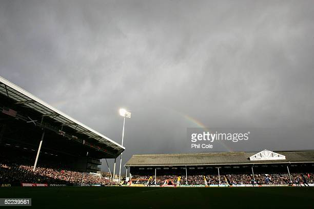 A general view of Craven Cottage prior to the FA Cup 4th round Replay match between Fulham and Derby County at Craven Cottage on February 12 2005 in...