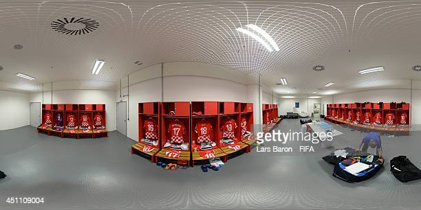 A general view of Croatia dressing room before the 2014 FIFA World Cup Brazil Group B match between Croatia v Mexico at Arena Pernambuco on June 23...