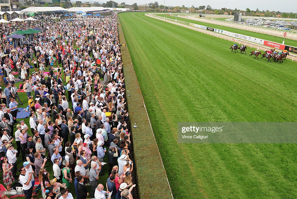 General view of crowd during Race 4 the Weekend Hussler Stakes which was won by Amovatio during Caulfield Guineas Day at Caulfield Racecourse on...