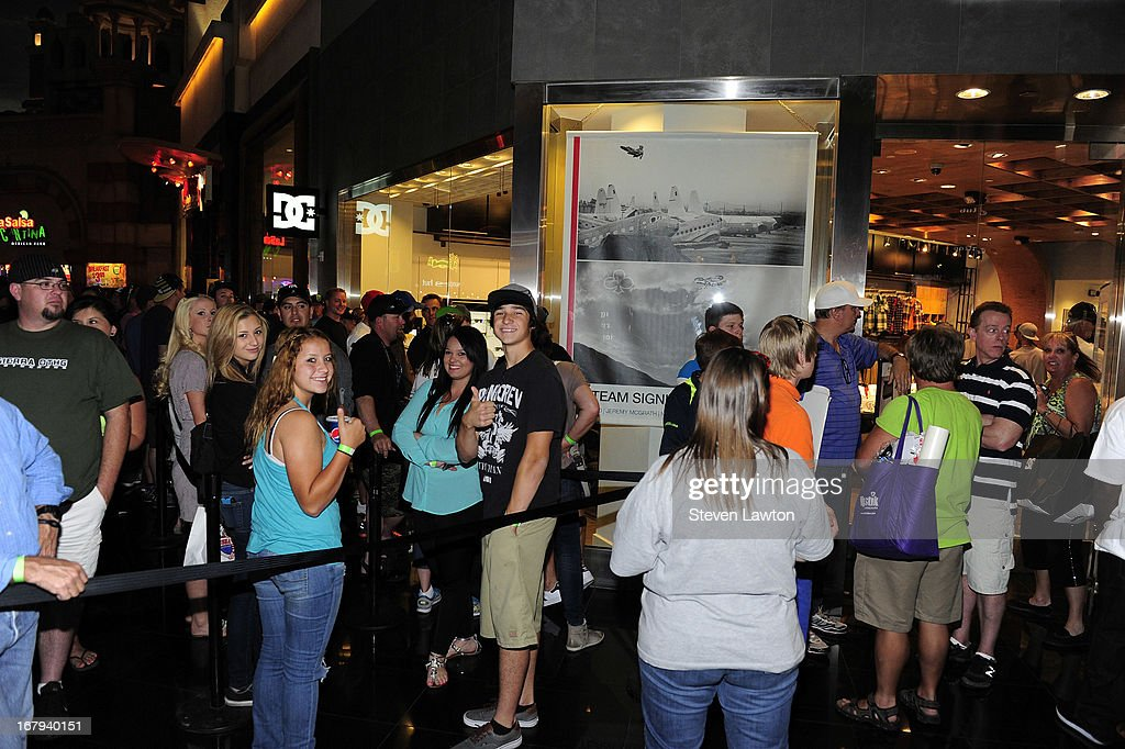 General view of crowd waiting for the DC Moto Team appearance in celebration of the 2013 AMA Supercross Finals at the DC Shoes store at Planet Hollywood Resort & Casino on May 2, 2013 in Las Vegas, Nevada.