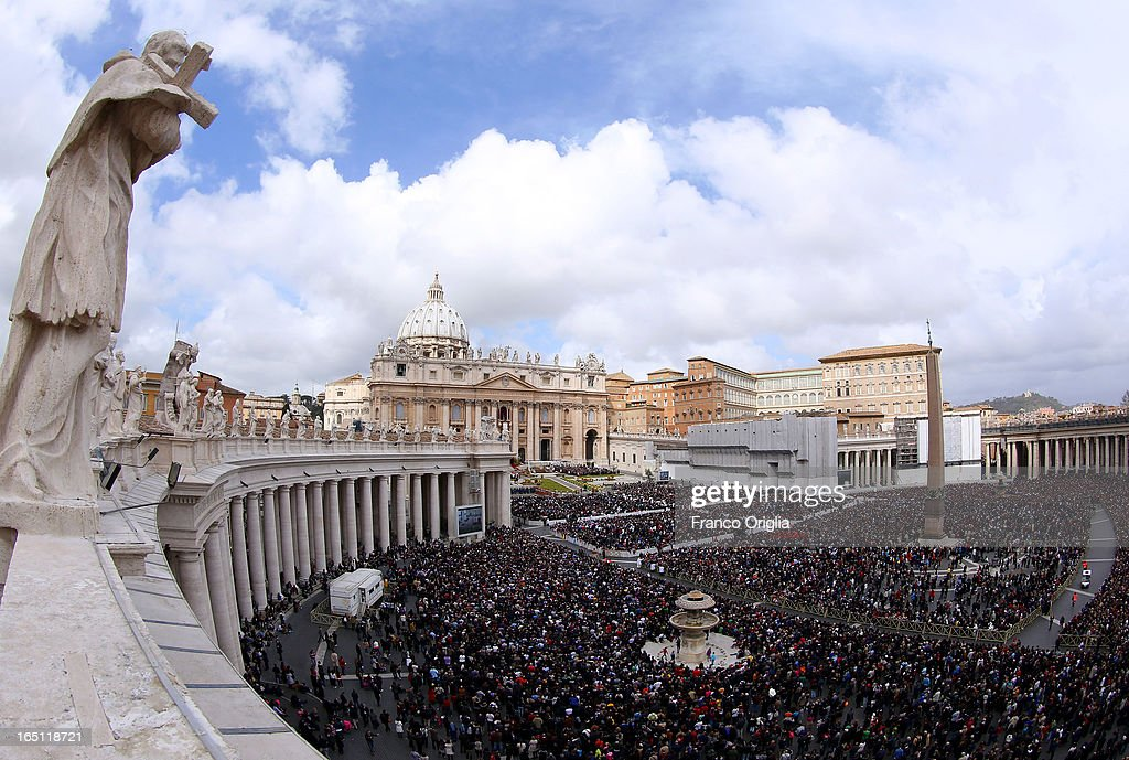 A general view of crowds as Pope Francis appears prior to delivering his first 'Urbi et Orbi' blessing from the balcony of St. Peter's Basilica during Easter Mass on March 31, 2013 in Vatican City, Vatican. Pope Francis delivered his message to the gathered faithful from the central balcony of St. Peter's Basilica in St. Peter's Square after his first Holy week as Pontiff.