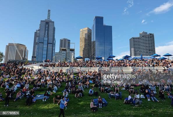 General view of crowds at Australian Open Festival of tennis live site at Birrarung Marr watching Men's Singles Final match between Novak Djokovik of...
