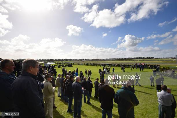 General view of crowds during the Warrnambool Racing Carnival on May 2 2017 in Warrnambool Australia