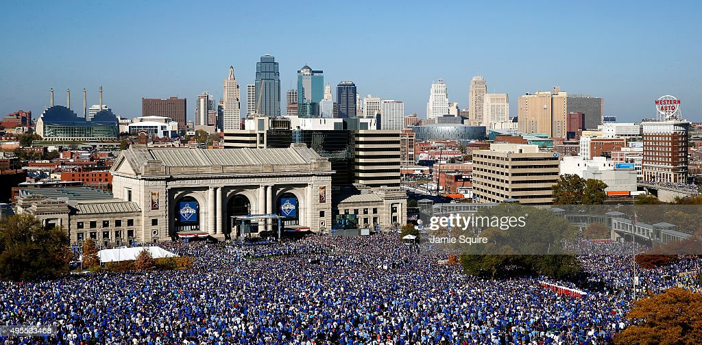 A general view of crowds gathered in front of Union Station and the skyline as the Kansas City Royals players hold a rally and celebration following...