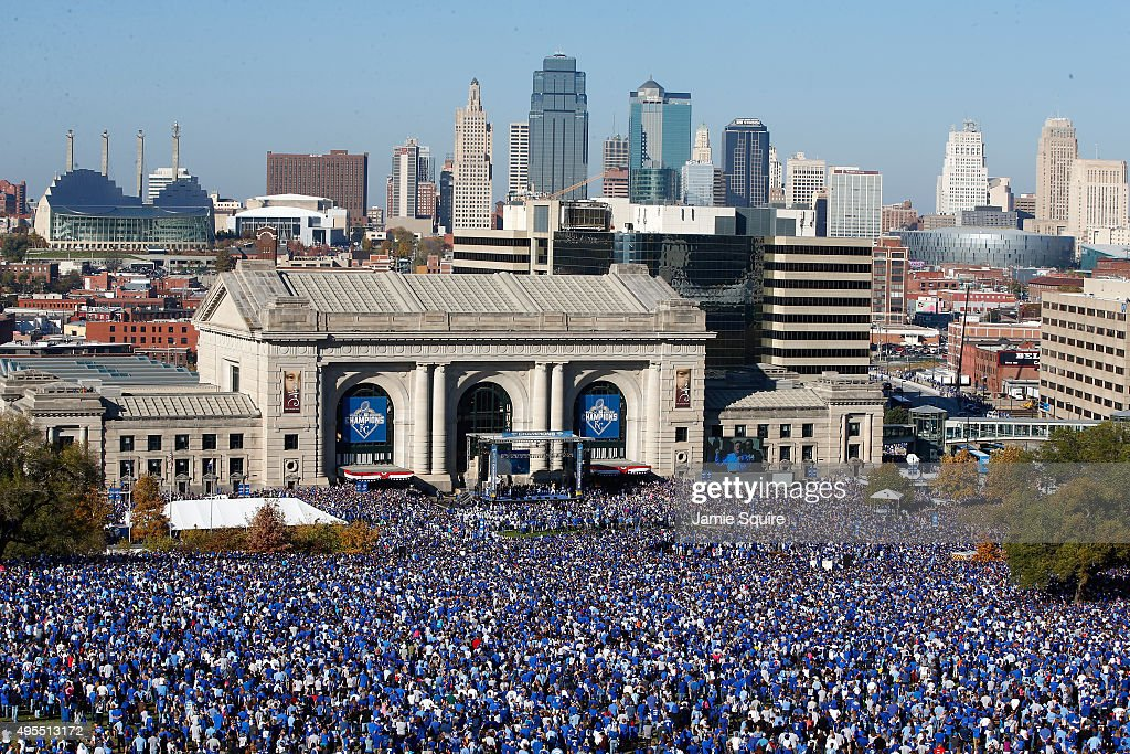 A general view of crowds gathered in front of Union Station as the Kansas City Royals players hold a rally and celebration following a parade in...