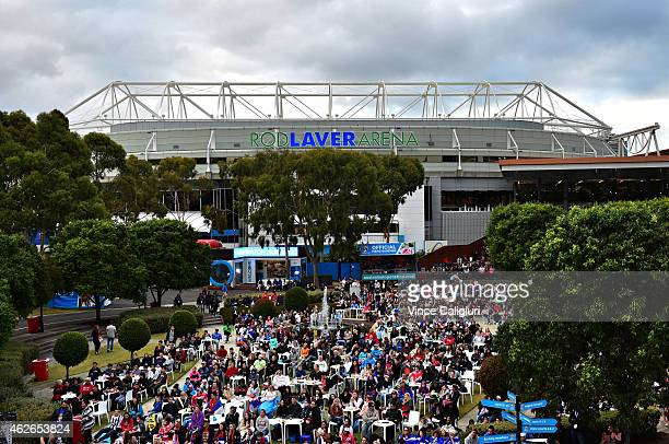 General view of crowds in Garden Square watching mens final between Novak Djokovic of Serbia and Andy Murray of Great Britain during the 2015...