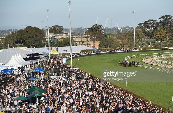 General view of crowds in Race 10 during Caulfield Cup Day at Caulfield Racecourse on October 17 2015 in Melbourne Australia