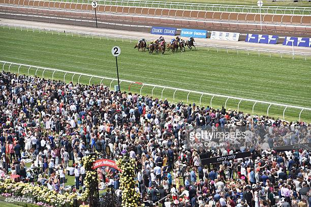 General view of crowds of Race 5 the Schweppes #FlemingtonFling on Melbourne Cup Day at Flemington Racecourse on November 3 2015 in Melbourne...