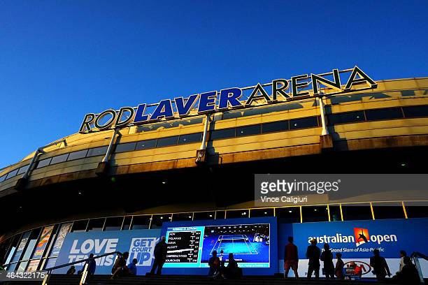 General view of crowds on the front steps of the Rod Laver Arena during day 10 of the 2014 Australian Open at Melbourne Park on January 22 2014 in...