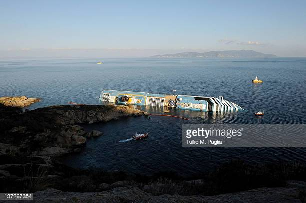 A general view of cruise ship Costa Concordia on January 18 2012 in Giglio Porto Italy The official death toll is now 11 with a further 24 people...