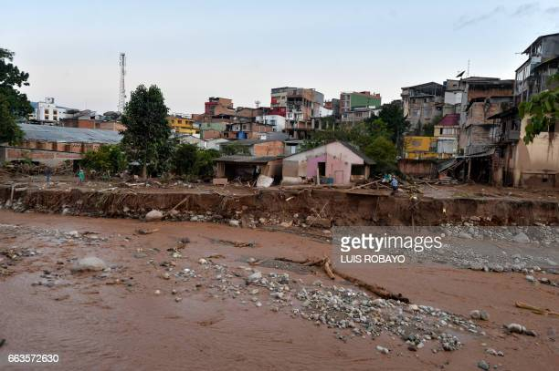 General view of damage caused by mudslides in Mocoa Putumayo department southern Colombia on April 1 2017 Massive mudslides left more than 200 dead...