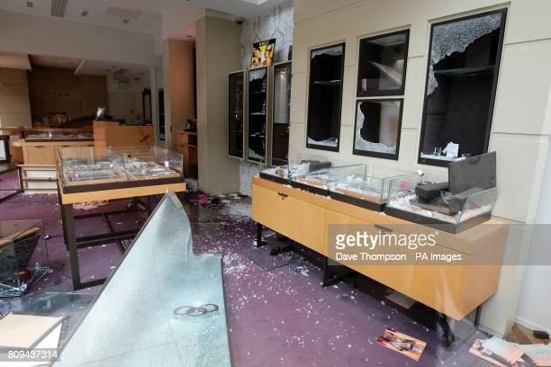 A general view of damage caused to a Links of London store on St Ann's Square in Manchester after rioting in the city centre last night