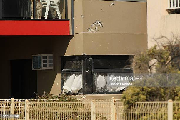 A general view of damage to houses in the suburb of Chelsea on October 14 2014 in Melbourne Australia Police have stated that one person has been...